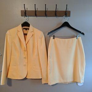 Anne Klein Yellow Blazer and Skirt Suit Set